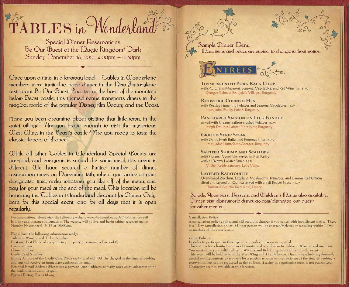 Tables in wonderland november events be our guest restaurant dinner tables fandeluxe Image collections