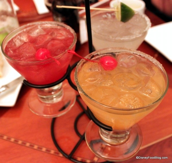 "Brown Derby Citizens Take Flight Margarita Flight -- Bucky Greenhorn's Derby Margarita, Melvin Macheezmo Mango Margarita, and ""Ready"" Freddy Fiddlesticks Pomegranate  Margarita"