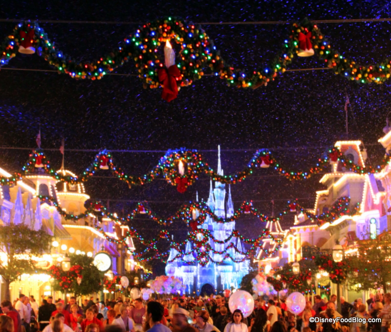 snow on main street at mickeys very merry christmas party