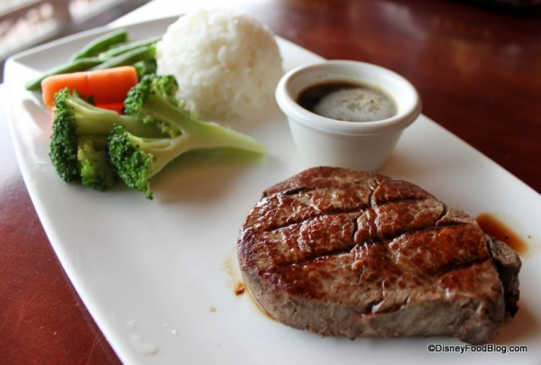 Filet Served with Rice and Veggies at Tokyo Dining