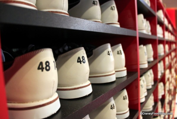 Rows and Rows of Bowling Shoes are encountered when you walk into Splitsville