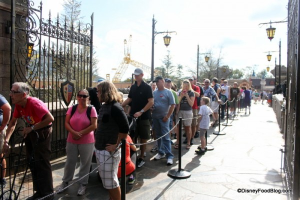 Line to get in to Be Our Guest Restaurant for Lunch