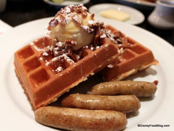 Waffles topped with Mascarpone Cheese at Kouzzina