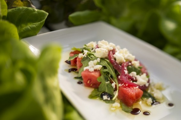 Watermelon Salad with pickled Red Onions, Baby Arugula, Feta Cheese and Balsamic Reduction