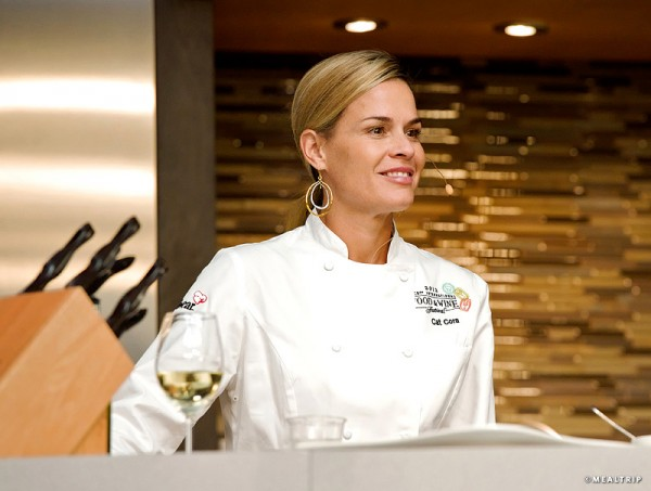 Chef Cat Cora at an Epcot Food and Wine Festival Culinary Demonstration