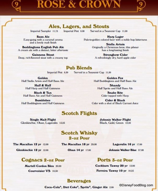 Rose And Crown Disney Drink Menu