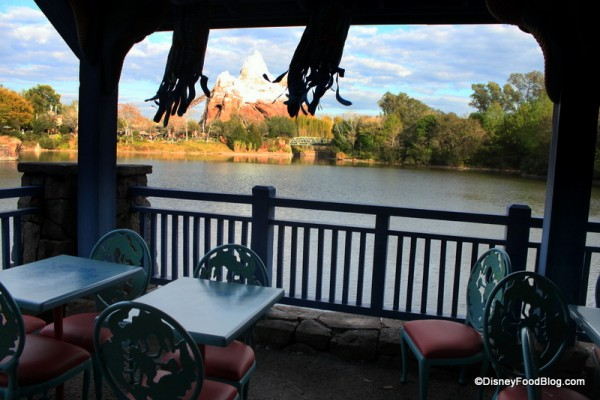 View of Expedition Everest from waterside dining pavilion Flame Tree Barbecue