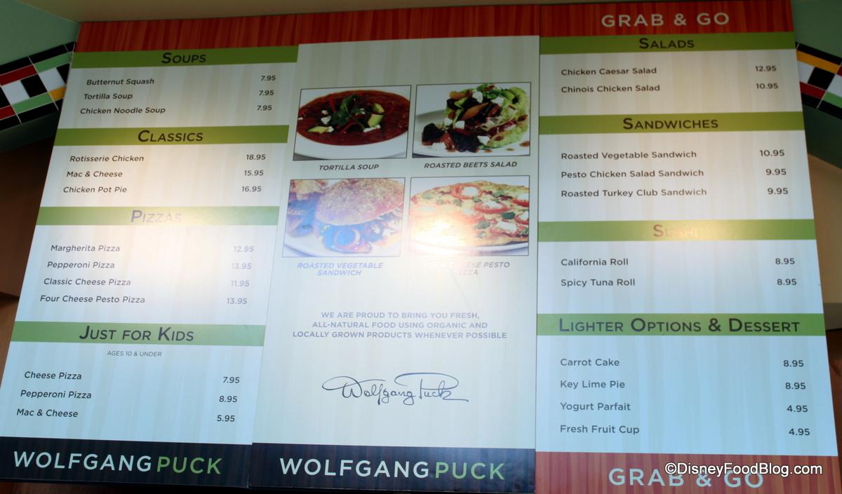Wolfgang puck express menu - Hotel