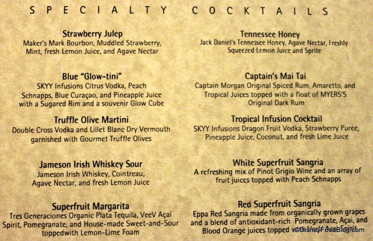 Drink menu click to enlarge
