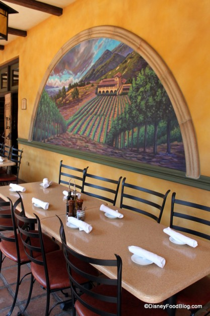 Review wine country trattoria at disney california for Create your own mural wallpaper