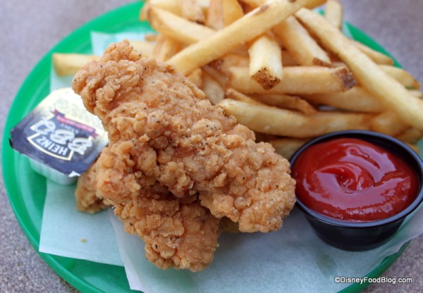 Kids' Chicken Fingers Meal -- on a frisbee!