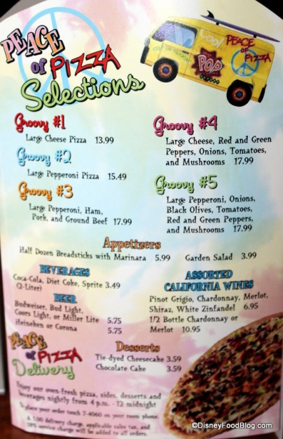 """Pop Century's """"Peace of Pizza"""" Delivery Menu!"""