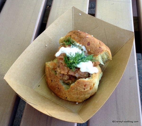 Potato, Chive and Cheddar Cheese Biscuit with Smoked Salmon Tartare and Sour Cream