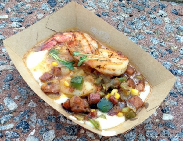 Shrimp and Stone Ground Grits with Andouille Sausage, Zellwood Corn, Tomatoes, and Cilantro