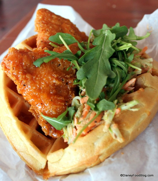 Sweet and Spicy Chicken Waffle Sandwich at Sleepy Hollow