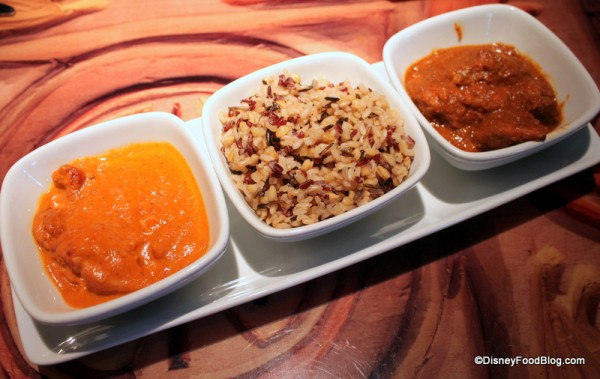 Tandoori trio -- chose butter chicken, spicy chicken, rice Sanaa