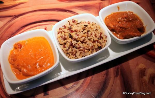 Tandoori trio -- chose butter chicken, spicy chicken, rice Sanaa