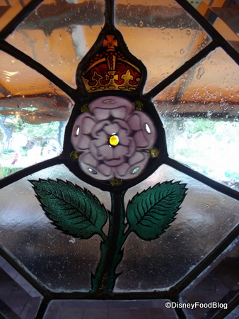 rose-and-crown stained glass