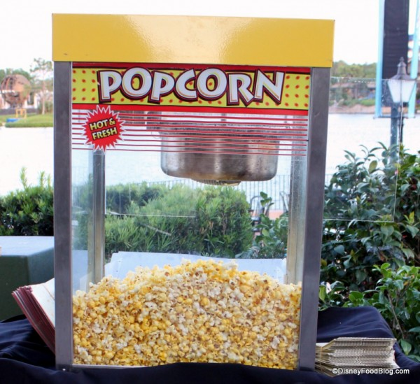 Disney Popcorn was popped on site and served in Disney popcorn containers!