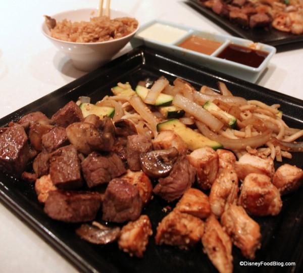 Steak and chicken