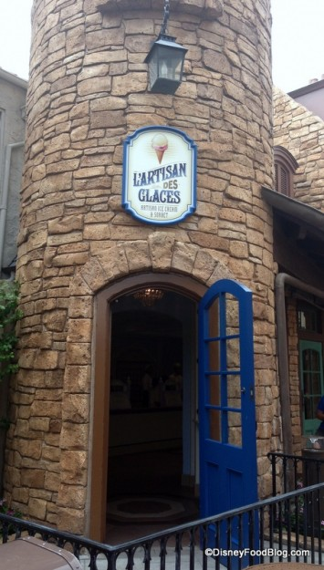Entrance to L'Artisan des Glaces in Epcot's France