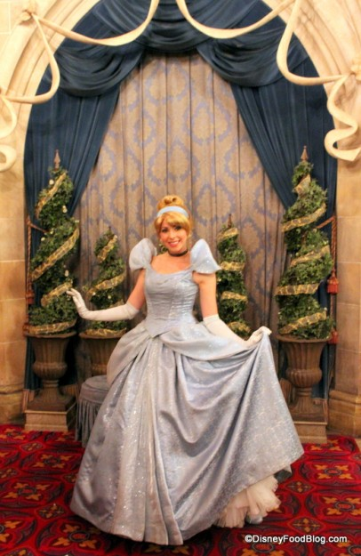 Cinderella greets guests in her castle