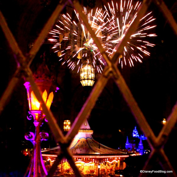 view of fireworks from Cinderella's Royal Table