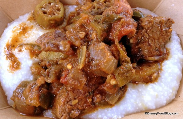 Berbere Style Beef with Onions, Jalapeños, Tomato, Okra, and Pap