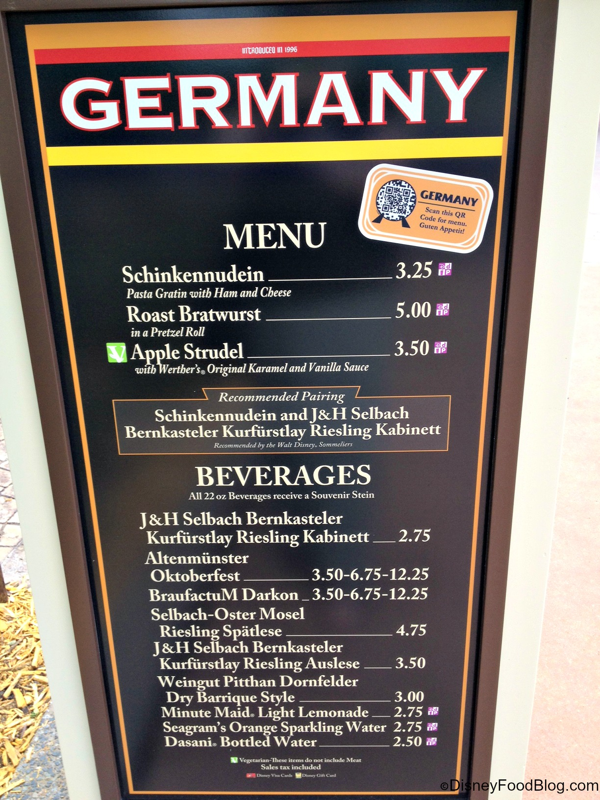 Epcot Germany Food Menu
