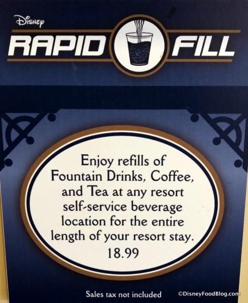 Refillable Mug Pricing Sign
