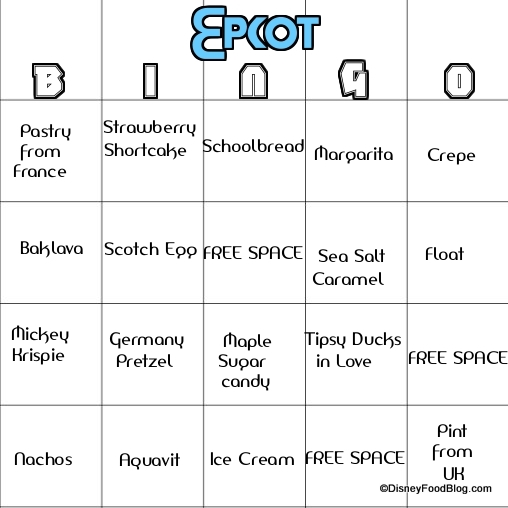 Food Bingo in Epcot? Yes Please!