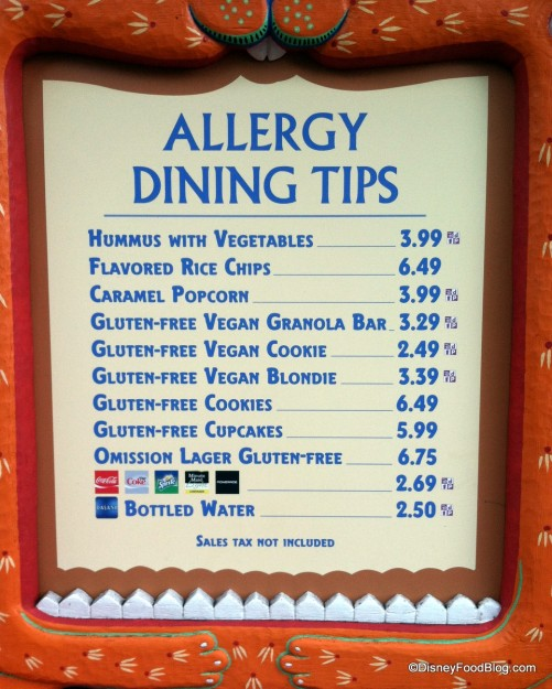 Gardens Kiosk Menu in Disney's Animal Kingdom