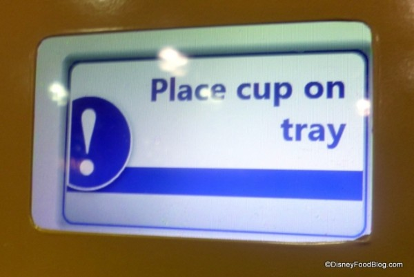 Place cup on tray message