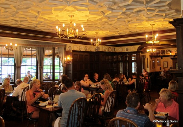 The main dining room is connected to the pub.