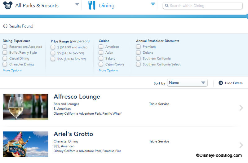News! Disneyland Dining Reservations Available Online ...