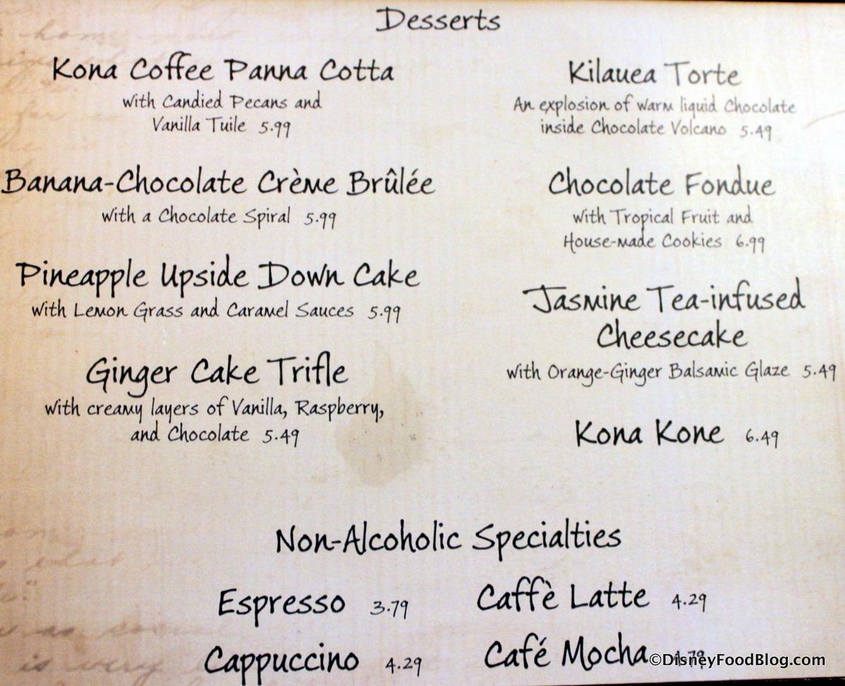 Kona Cafe Menu Pictures