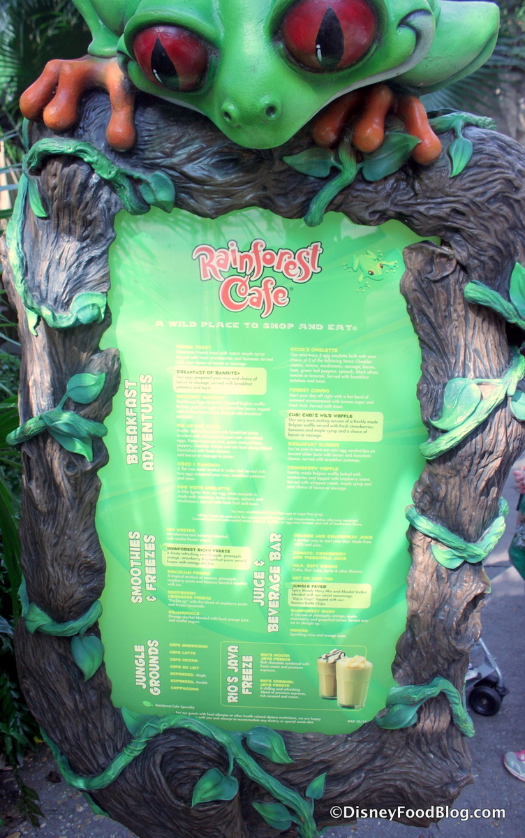 Review: Breakfast at Rainforest Cafe in Disney's Animal Kingdom ...