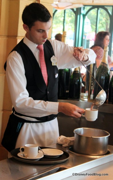 Pouring Chocolat Chaud at the Parisian Breakfast
