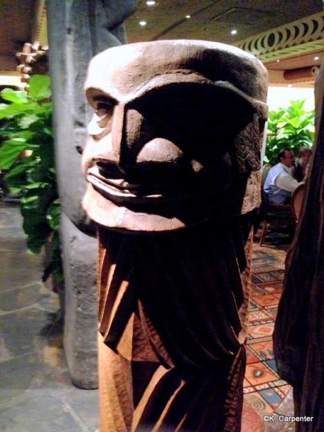Tiki idols stand watch as you enter 'Ohana