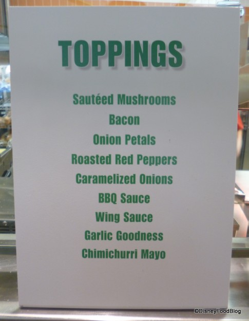 Burger Toppings Menu