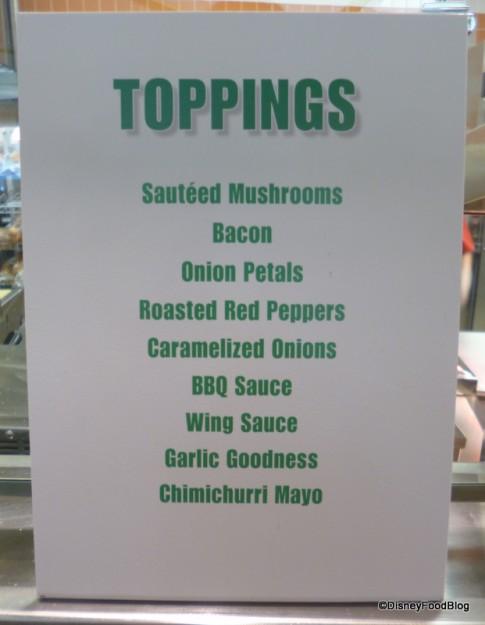 Burger Toppings Menu