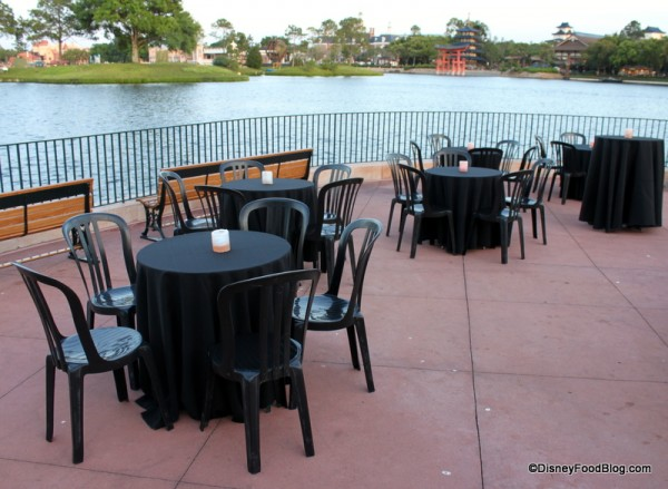 Seating for Snack Attack as the Sun Sets