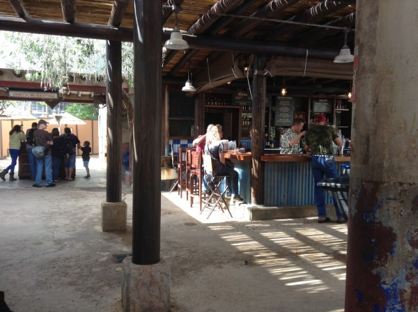 Tusker House check-in line on the left, Dawa Bar on the right