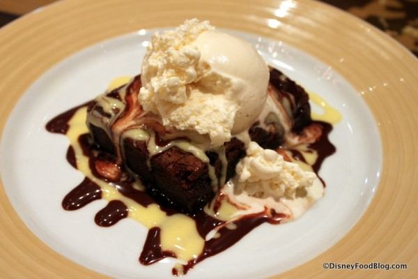Brownie Topped with Ice Cream