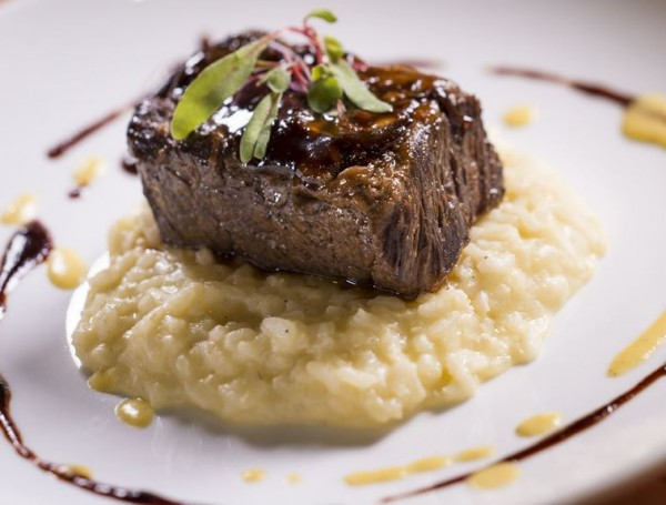 Cabernet-Braised Short Rib with Corn Risotto is Slow-Cooked for Six Hours