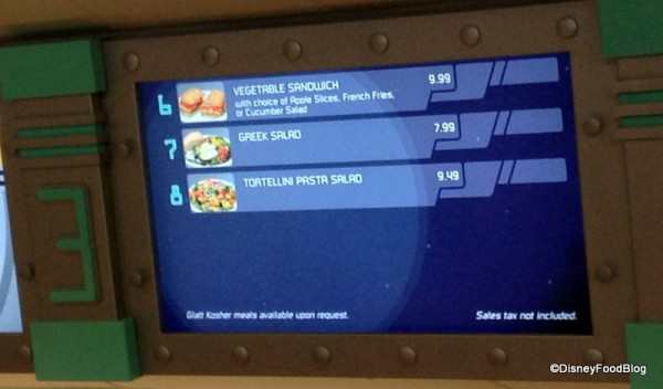 Menu at Cosmic Ray's Cafe