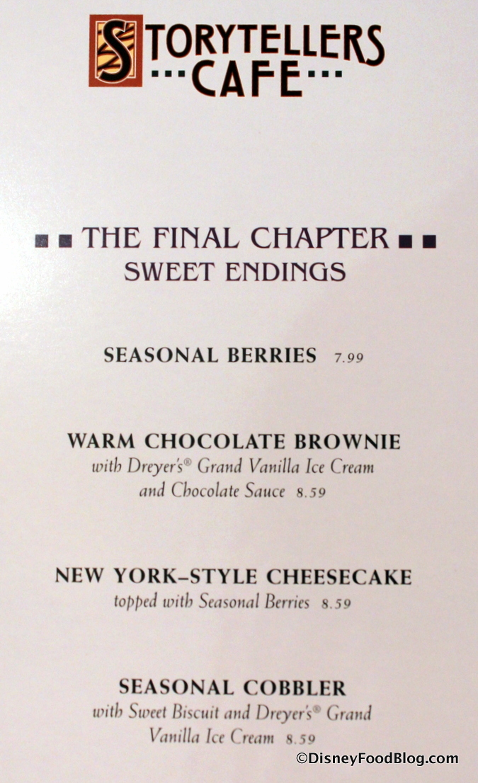 Storytellers Cafe Dessert Menu