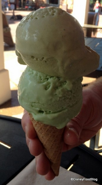 Top scoop: Green Tea, Bottom scoop: Pistachio with Orange Blossom Water