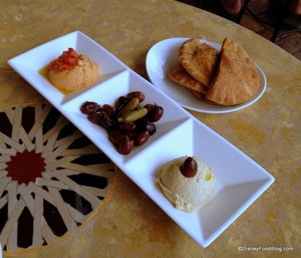 Hummus, Olives, and Bread