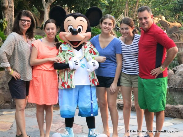 Mickey wears surf clothes when he greets guests at the Aulani character breakfast. Cool dude!